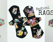 Create Your Own Radical Rag, Whimsical Fantasy Reuseable Cloth Pad, Fairies, Mushrooms, Owls, Art Nouveau, Unicorns & Rainbows