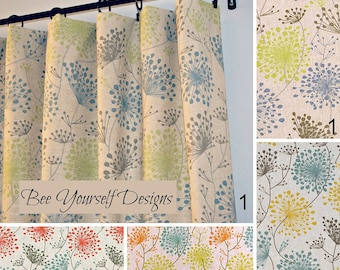 """Pair of Curtain Panels with Rod Pockets - Irish Daisy Linen Laken - 25"""" or 50"""" wide - You choose color and length"""