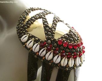 Brass Cowrie Epaulet Statement Epaulet Shoulder Jewelry Brass Armor Bead Embroidered Epaulet  Red Swarovski Epaulet Kauri Shell Epaulet