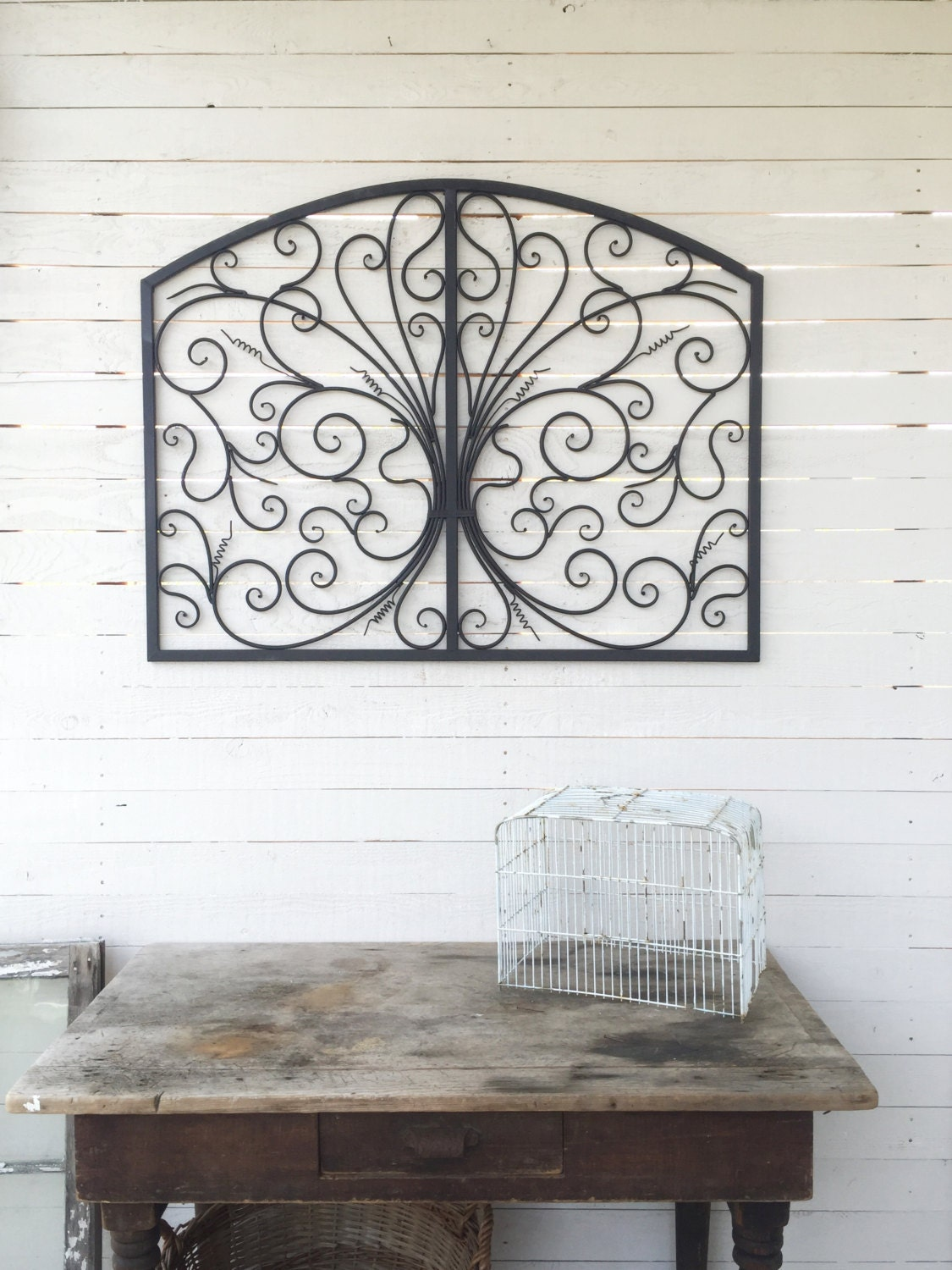 metal wall art scroll wall decor spanish style by camillacotton. Black Bedroom Furniture Sets. Home Design Ideas