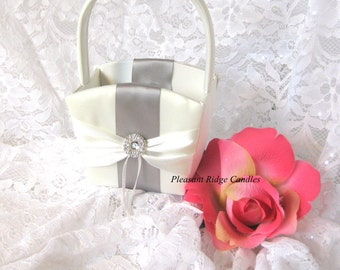 Satin Flower Girl Basket Bling Flower Girl Basket Ivory Flower Girl Basket White Flower Girl Basket Wedding Basket Ribbon Color Choice