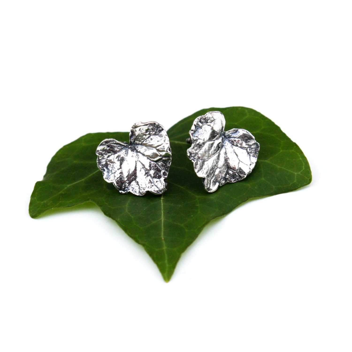 leaf earrings silver leaf studs sterling silver leaf