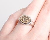 Monogram Ring in Sterling Silver Gold Bronze for Women~Personalized Scroll Script Initials~Three Initial Organic Style Signet Customized