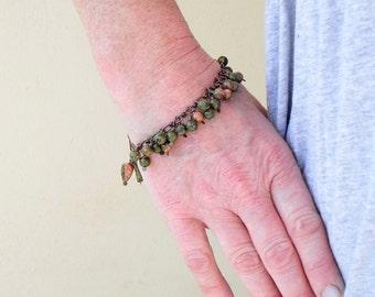 Unakite Bracelet, Copper Wire Jewelry, Dangle Bracelet, Artisan Jewellery, Cluster Bracelet, Cascade Bracelet, Jasper Jewellery
