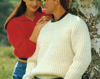 PDF Knitting Pattern / Men's or Women's Ribbed Sweater / His and Hers / Chunky Yarn Knitting pattern / Instant Download PDF / Post FREE