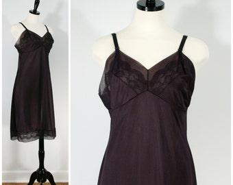 Vintage Full Slip, Black Lace Slip Vintage Lingerie, Movie Star Nylon Full Slip, Chiffon and Lace Undergarment Size M