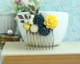 Yellow Navy Blue Comb, Yellow Wedding Comb, Blue Ivory Flower, Yellow Ivory, Blue, Brass Leaves Hair Comb, Rustic Bridesmaids Gift, Summer