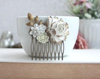 Wedding Comb, Bridal Comb, Gold Ivory Rose Comb, Rustic Flower Comb Vintage  Rose Flower Leaf Veil Comb, Vintage Wedding Bridesmaids Gifts