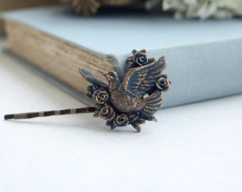 Bird Hair Pins, Blue Gold Flying Dove Hair Pin, Something Blue, Blue Rustic Woodland Hair Pins, Bridesmaids Gifts, Flower Girls Hair Pins