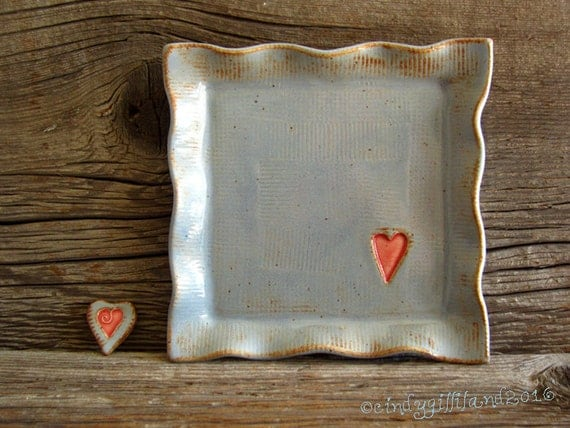 Pottery Plate in Rustic Blue with Red Heart - Pottery Tray - by DirtKicker Pottery
