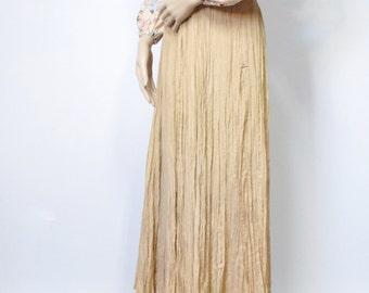 Hippie Skirt Gypsy Vintage Skirt Gathered Gauzy Festival Skirt Long Maxi Skirt Size Small - Medium
