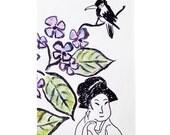 asian, bird, geisha, flowers, green purple black, home decor, nature, watercolor, tagt team