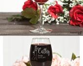 Personalized Wedding Glasses Bride Glass Bridesmaid Wine Glass Personalized Gifts for Bridesmaids Wedding Wine Glasses Bridal Party Glasses