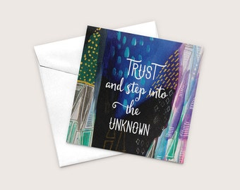 Encouragment Cards, Trust The Unknown, Blank Art Greeting Card, Mystical Card, Recycled Paper Card, Just Because Cards, Friendship Cards