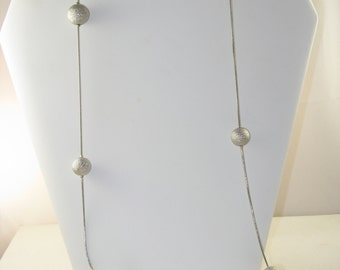 Vintage R.J. Graziano Very Long Single Strand Silver Tone Necklace (N-3-3)