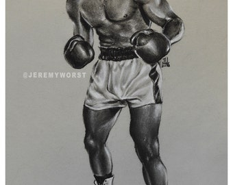 "JEREMY WORST "" Muhammad Ali "" Sketch Artwork Signed Fine Art Print Great gift Cassius Clay"