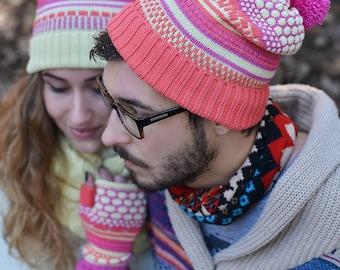 Knitted beanie , Merino wool hat, Merino wool beanie for men, Colorful beanie, Fingerless for men, Valentines gift
