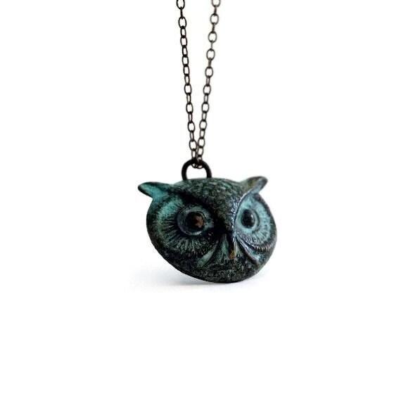 Owl Necklace, Verdigris Patina Owl, Verdigris Jewelry, Patina Necklace, Verdigris Patina, Whimsical Jewelry, Bird Jewelry