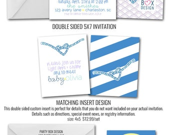 Nautical Girl Sip and See Invitations