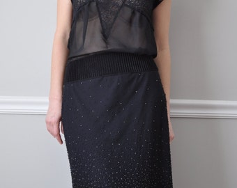 Black Tulle Beaded Cocktail Party Skirt, Size S M