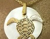 Handcut Sea Turtle Necklace