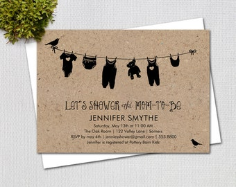 Baby Shower Invitation / Rustic Baby Clothesline on Kraft Background / PRINTABLE  INVITATION / #5244