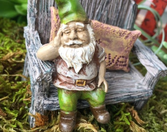 "Miniature Sleeping Garden Gnome Figurine,  ""Iggy"",  Perfect For Any Miniature Garden Project"