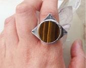 HANDMADE// Round Tiger Eye Sterling Silver Ring-Size 8.25