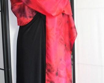 22x90 red silk scarf