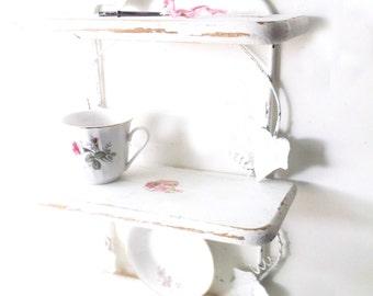 White Wrought Iron Wood Shelf. French Country Cottage Decor.  Vintage White Shabby Chic. Wall decor. Cottage Romance