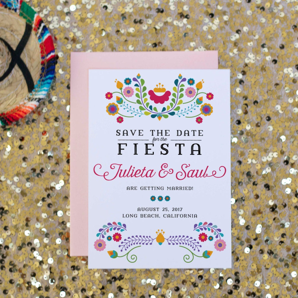 Fiesta Save the Date Wedding Invitation Mexican by SoireePapery