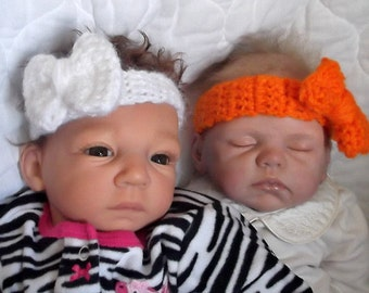 Newborn up to 3 Month Size... Girl....BOW Headbands...Hand Crocheted...6 Color Choices...Perfect for GIFT GIVING...Custom Orders Welcomed