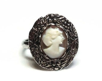 Carved Shell Cameo Adjustable Ring with Ladies Portrait Bust Bezel Set in Silver Floral Motif - Vintage 60's Costume Jewelry