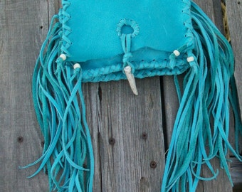 Turquoise clutch with fringe , Turquoise leather clutch , Turquoise phone case