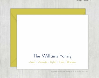 Personalized Thank You Cards • Colorful Family {FOLDED} • 10 Note Cards with Envelopes • Personalized Stationery • Personalized Stationary