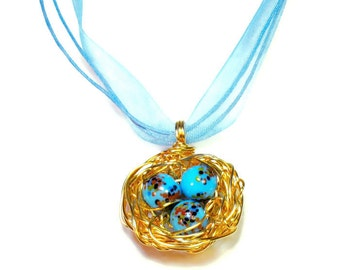 Robin's Nest Necklace,  Pendant with Eggs, Mothers Day Gift, Handcrafted Jewelry, Woodland