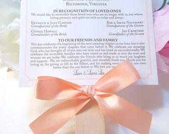 Wedding Program Fan, Peach Programs, Garden Program Fans, Ceremony Programs, Beach Wedding Programs - Elegant Border Fan Sample
