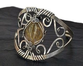 Silver Cuff Bracelet, Statement Bracelet, Bridal Cuff Bracelet, Crystal Bracelet, Wire Wrap Bracelet, Wide Bracelet, Cuff Bangle
