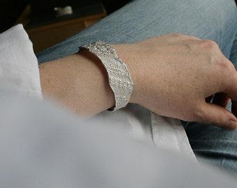 Lace cuff no 2 - delicate sterling silver lace cast cuff - OOAK, ready to ship