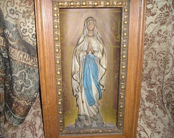 Antique Belgium Church Chapel Praying Virgin Mary Statue w/ Original Old Wooden Ornate Shadow Box Religious Wall Art
