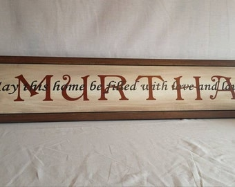 Large Family Name Sign, 7.25x36 Rustic Family Name