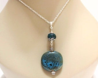 Blue-Green Pendant Necklace, Silver Heart Clasp, 18-Inch Curb Chain, Turquoise Ceramic Necklace, Elegant Silver Bail, Speckled Blue Beads