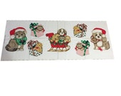 Vintage Christmas Fabric Panel Cut and Sew, Christmas Kitten Fabric Appliques, Christmas Puppy Fabric Appliques, Vintage Hallmark Wamsutta