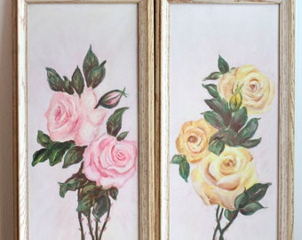 Vintage Paintings,  Shabby Chic Roses, Framed Cottage Home Art, Pink Yellow Roses Decor, Signed L Shoff Painting, Cottage Roses