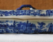 ANTIQUE FLOWBLUE Ironstone Divided Covered Jewelry Dresser Tray 3 Compartment Ironstone Jewelry Box Victorian Dresser Tray English Flow Blue