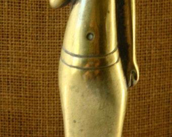 Vintage BRASS EGYPT PHARAOH Figure on Marble  Stone Base Brass Egyptian God Figurine Statue