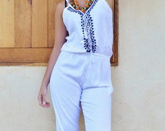 NEW WINTER clothing| White with Navy Kara Jumpsuit -loungewear,resortwear,Birthdays, Honeymoon, Wedding, Maternity gifts, Ramadan, Eid