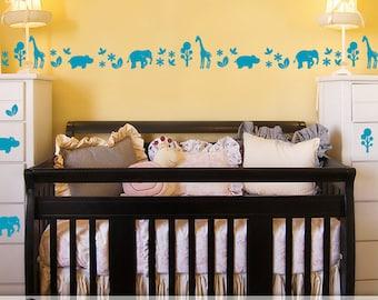 Safari Animals Nursery Decor, Baby Nursery Zoo Animals Decal Border Wall Decor, Elephant Decor, Giraffe Decor, Hippo Decor, Vinyl Wall Decal