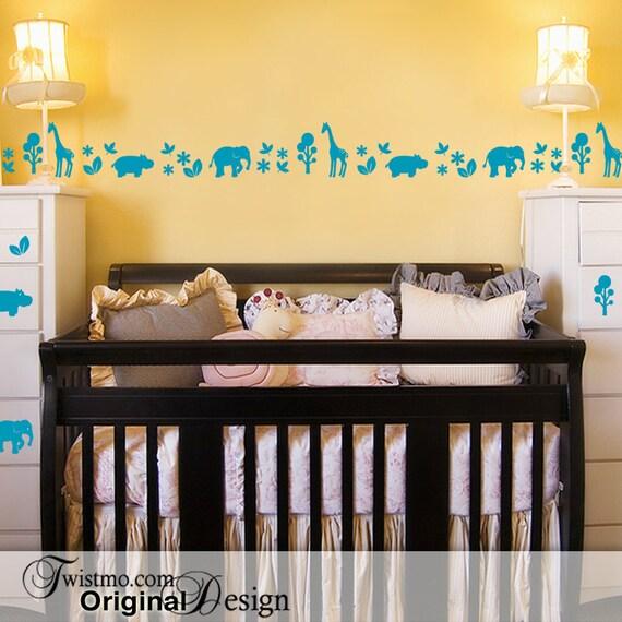 Safari tiere kinderzimmer dekor baby kinderzimmer zoo tiere - Kinderzimmer safari ...