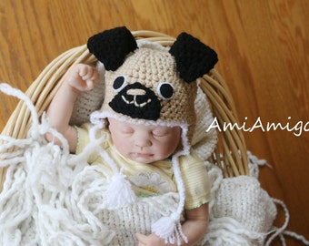 Crochet Pug Hat  (Newborn) Ready To Ship